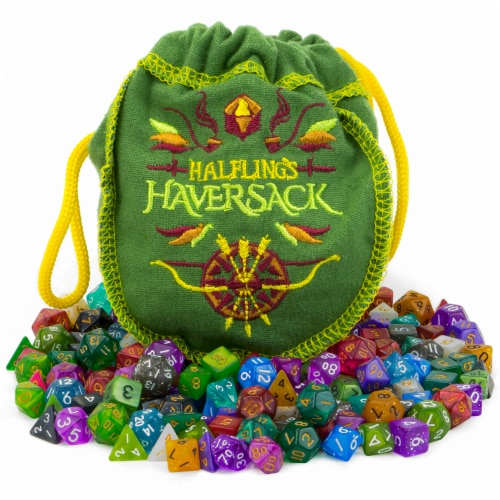 Halfling's Haversack, 140 Mini Polyhedral Dice Perspective: front