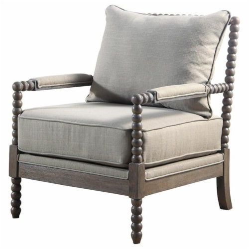 Best Master West Palm Solid Wood Living Room Accent Chair in Rustic Oak/Taupe Perspective: front