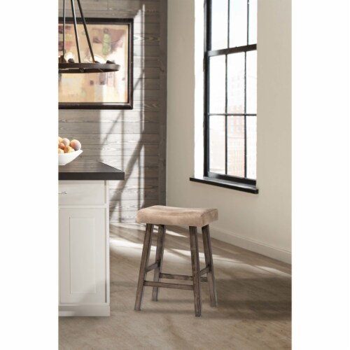 Hillsdale Saddle 30  Faux Leather Bar Stool in Rustic Gray Perspective: front