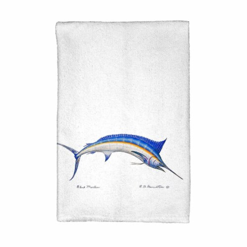 Betsy Drake KT015 Blue Marlin Kitchen Towel Perspective: front