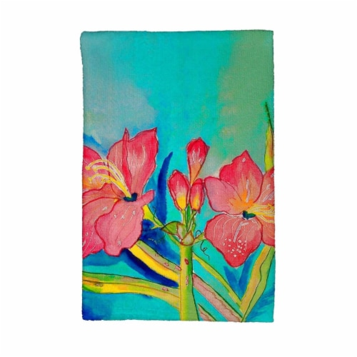 Betsy Drake KT233 Pink Amaryllis Kitchen Towel Perspective: front