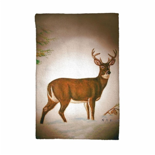 Betsy Drake Deer in Snow Kitchen Towel Perspective: front