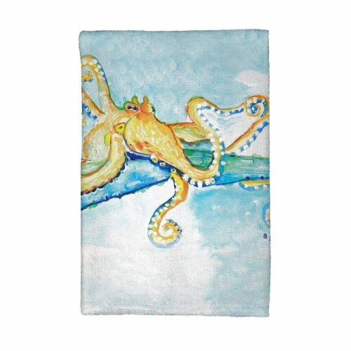 Betsy Drake KT547 Gold Octopus Kitchen Towel Perspective: front
