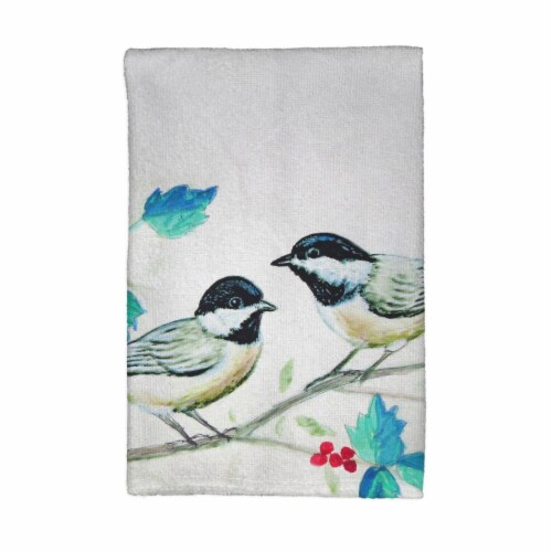 Betsy Drake 16 x 25 in. Christmas Chickadees Kitchen Towel Perspective: front