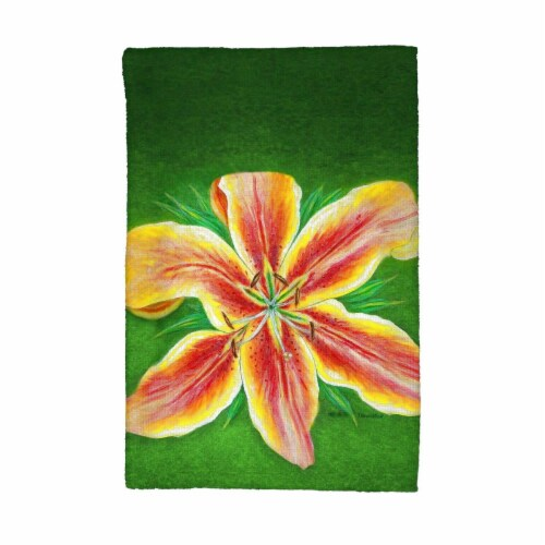 Betsy Drake KT702 Yellow Lily Kitchen Towel Perspective: front