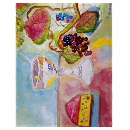 Betsy Drake PM104 14 x 18 in. Wine & Cheese Place Mat - Set of 4 Perspective: front