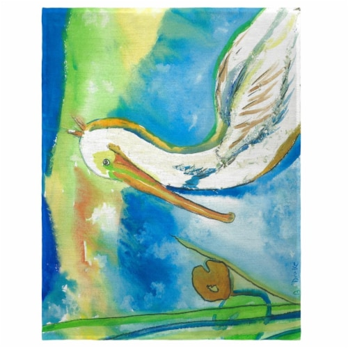 Betsy Drake PM138 14 x 18 in. White Pelican Place Mat - Set of 4 Perspective: front