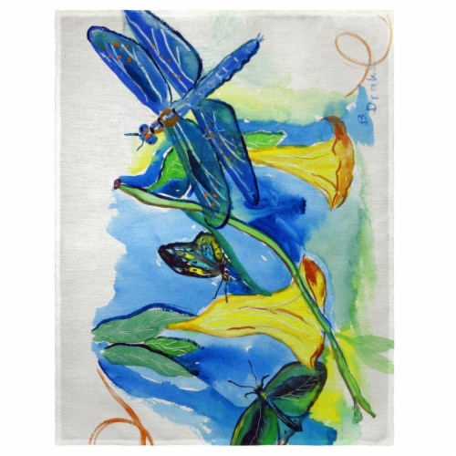Betsy Drake PM813 14 x 18 in. Yellow Bells & Dragonfly Place Mat - Set of 4 Perspective: front