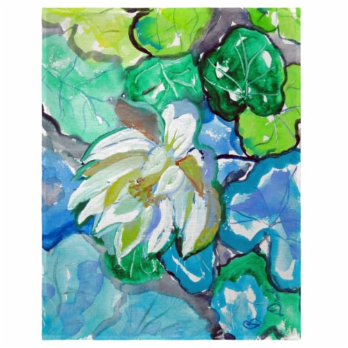 Betsy Drake PM841 14 x 18 in. White Lily Flower Place Mat - Set of 4 Perspective: front