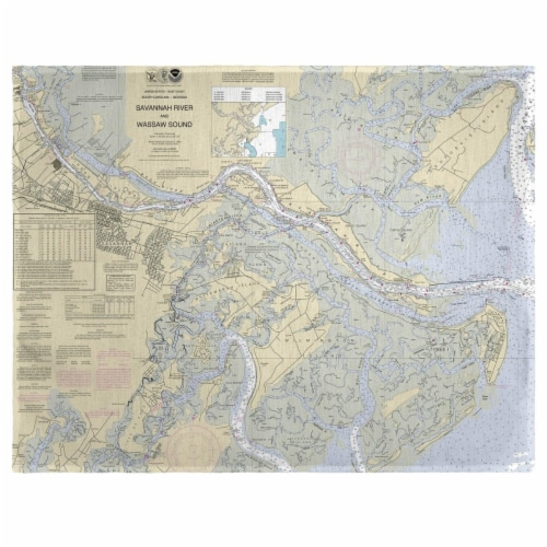 Betsy Drake PM214 Savannah River & Wassaw Sound, GA Nautical Map Place Mat, 14 x 18 in. - Set Perspective: front