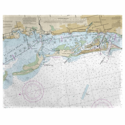 Betsy Drake PM11411CD Clearwater Harbor, FL Nautical Map Place Mat, 14 x 18 in. - Set of 4 Perspective: front