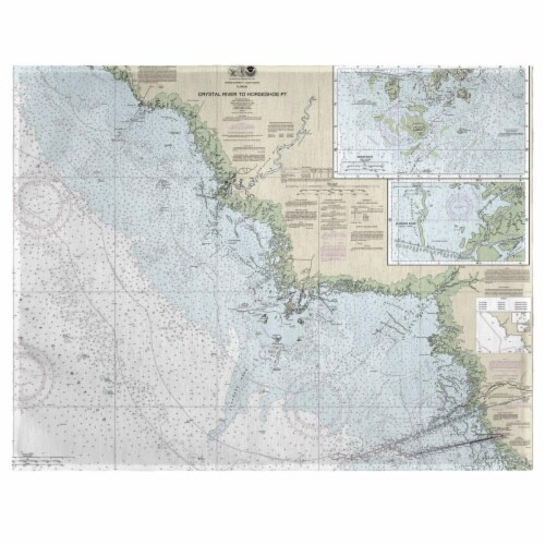 Betsy Drake PM234 Crystal River to Horseshoe Point, FL Nautical Map Place Mat, 14 x 18 in. - Perspective: front