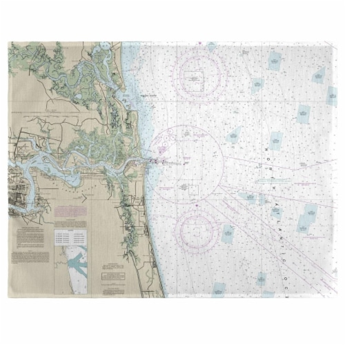 Betsy Drake PM11488JB Jacksonville, FL Nautical Map Place Mat, 14 x 18 in. - Set of 4 Perspective: front