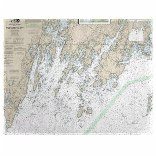 Betsy Drake PM13301MB Muscongus Bay, ME Nautical Map Place Mat, 14 x 18 in. - Set of 4 Perspective: front
