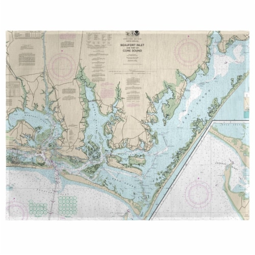 Betsy Drake PM11545 Beaufort Inlet & Part of Core Sound, NC Nautical Map Place Mat, 14 x 18 i Perspective: front