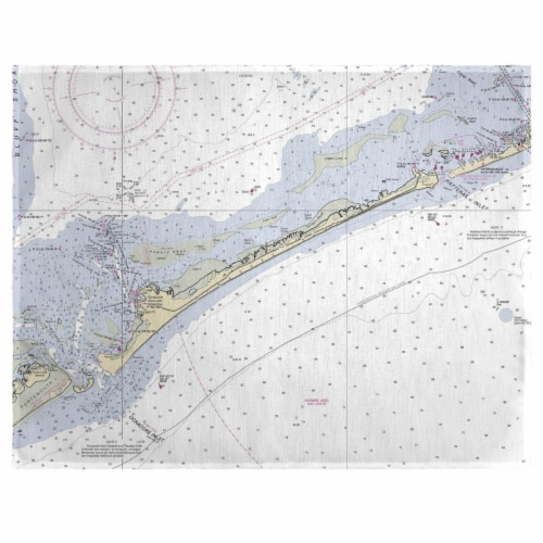 Betsy Drake PM228 14 x 18 in. Ocracoke Inlet, NC Nautical Map Place Mat - Set of 4 Perspective: front