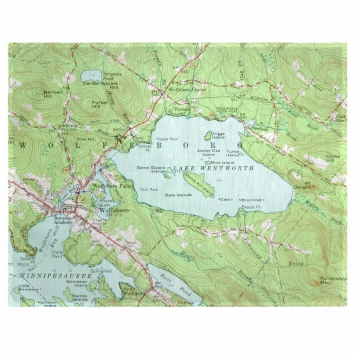 Betsy Drake PM654 14 x 18 in. Lake Wentworth, NH Nautical Map Place Mat - Set of 4 Perspective: front