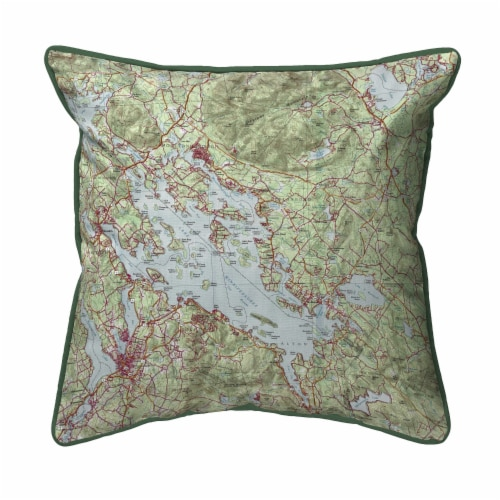 Betsy Drake Lake Winnipesaukee NH Nautical Map Small Indoor/Outdoor Pillow 12x12 Perspective: front