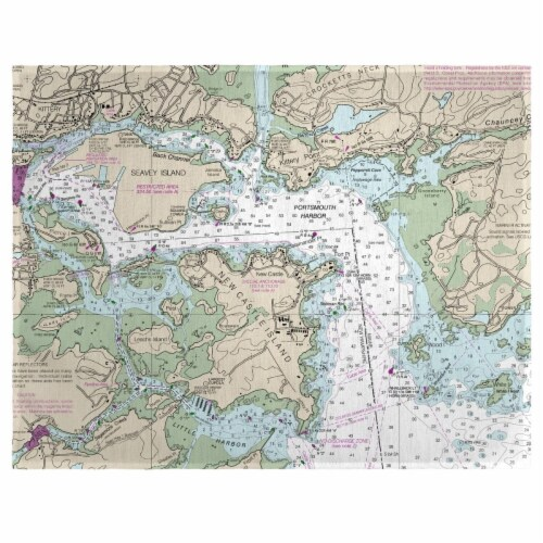Betsy Drake PM13283PH 14 x 18 in. Portsmouth Harbor, NH Nautical Map Place Mat - Set of 4 Perspective: front