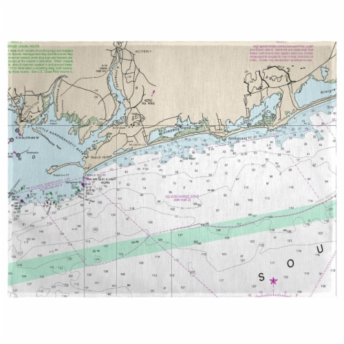 Betsy Drake PM13205WH 14 x 18 in. Block Island Sound, RI Nautical Map Place Mat - Set of 4 Perspective: front