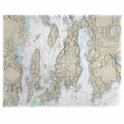 Betsy Drake PM13221NP 14 x 18 in. Narragansett Bay, RI Nautical Map Place Mat - Set of 4 Perspective: front