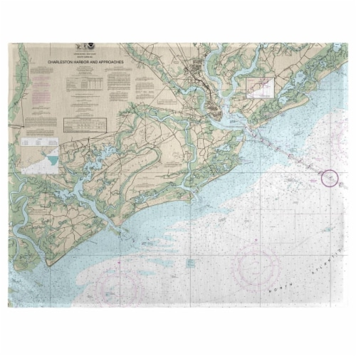 Betsy Drake PM11521 14 x 18 in. Charleston Harbor & Approaches, SC Nautical Map Place Mat - S Perspective: front