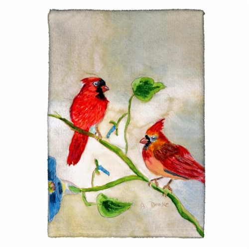 Betsy Drake KT270 Cardinals Kitchen Towel Perspective: front