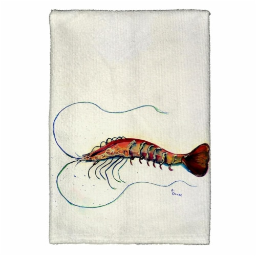 Betsy Drake KT395 Shrimp Kitchen Towel Perspective: front