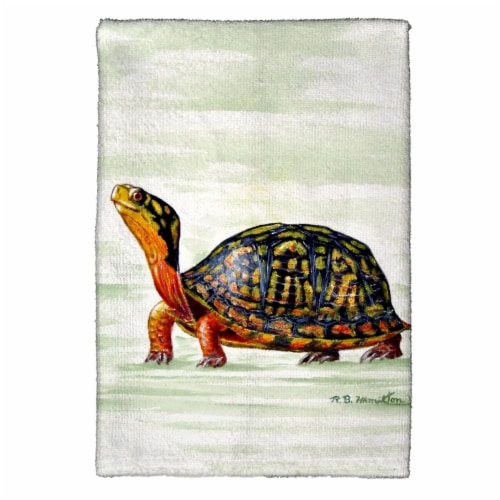 Betsy Drake KT491 Happy Turtle Kitchen Towel Perspective: front