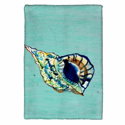 Betsy Drake KT606C Shell - Teal Kitchen Towel Perspective: front
