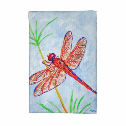 Betsy Drake KT773 Red Dragonfly Kitchen Towel Perspective: front