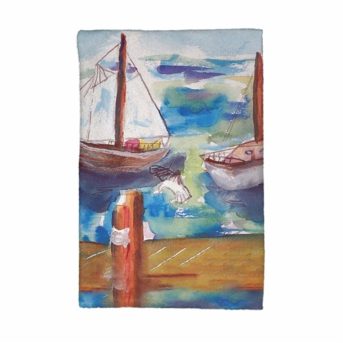 Betsy Drake KT933 Two Sailboats Kitchen Towel Perspective: front