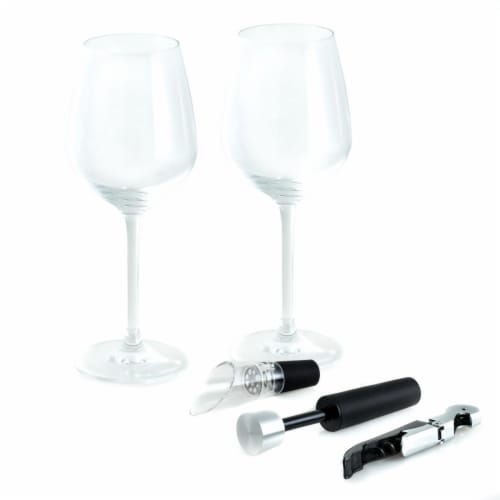 Bey-Berk International Crystal Wine Set, Black - 5 Piece Perspective: front