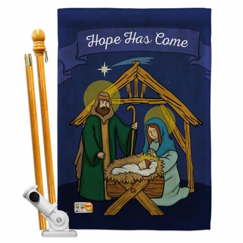 Breeze Decor BD-NT-HS-114112-IP-BO-D-US16-BD 28 x 40 in. Hope Has Come Winter Nativity Impres Perspective: front