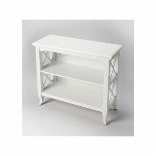 Butler 3044304 Glossy White Low Bookcase Perspective: front