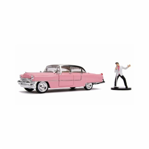 1 by 24 Scale Elvis Presleys 1955 Cadillac Fleetwood Diecast Model Figure, Pink Perspective: front