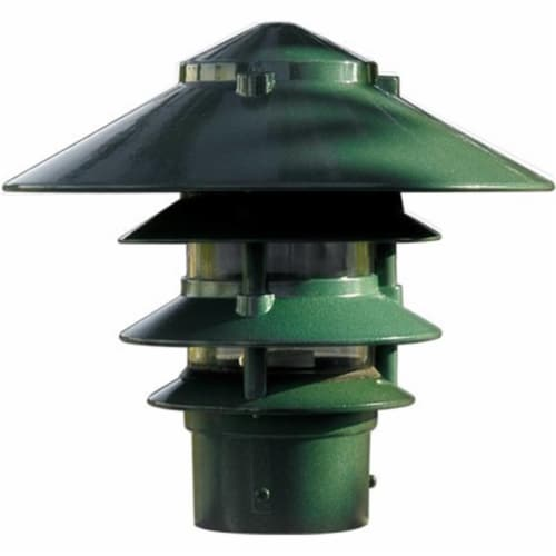 10 in. Four Tier Pagoda Light - 7W 120V, Green Perspective: front
