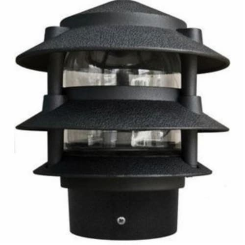 10 in. 3 Tier Pagoda Outdoor Light - 5W 120V, Black Perspective: front