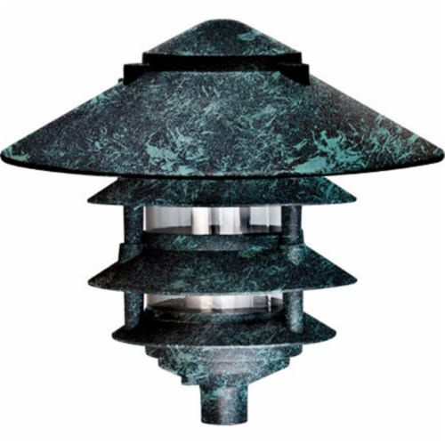 10 in. Four Tier Pagoda Light - 7W 120V, Verde Green Perspective: front
