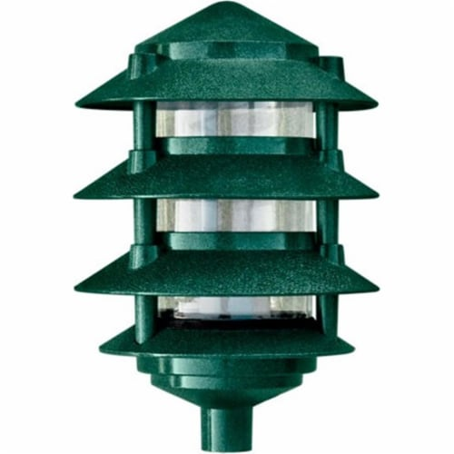 3 in. Four Tier Pagoda Light - 7W 120V, Green Perspective: front