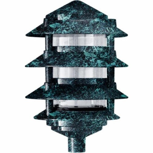 3 in. Four Tier Pagoda Light - 7W 120V, Verde Green Perspective: front
