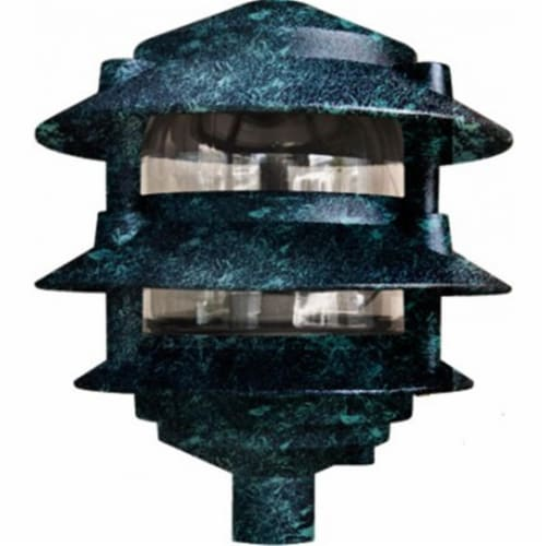 P-D5000-10T-VG 10 in. 3-Tier Pagoda Light, Verde Green Perspective: front
