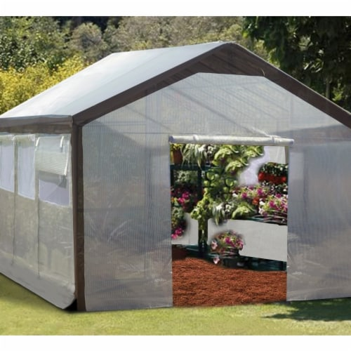 Wall  Replacement Greenhouse sidewall Cover  9 ft. x 10 ft. x 20 ft- Set of 2 Perspective: front
