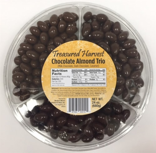 Treasured Harvest Chocolate Covered Almond Trio Tray Perspective: front