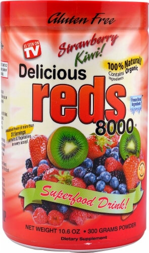 Greens World Inc.  Delicious Reds 8000   Strawberry Kiwi Perspective: front