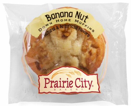 Prairie City Bakery Individually Wrapped Banana Nut Crunch Down Home Muffin, 4.5 oz -- 48  CS Perspective: front