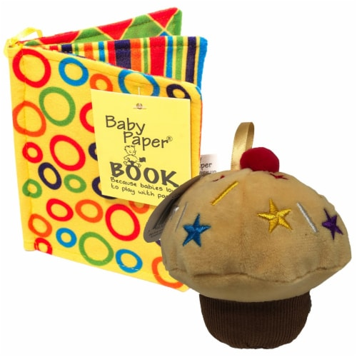 Baby Paper Vanilla Cupcake & Crinkle Book Gift Set - Baby Paper Crinkle Toys Perspective: front