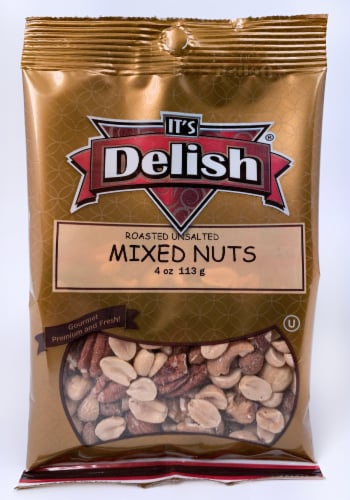 It's Delish Roasted Unsalted Mixed Nuts Perspective: front