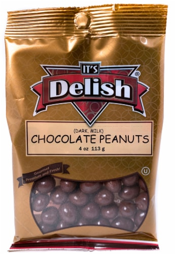 It's Delish Dark and Milk Chocolate Peanuts Perspective: front