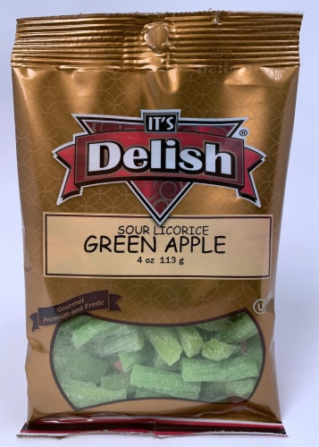 It's Delish Sour Green Apple Licorice Perspective: front